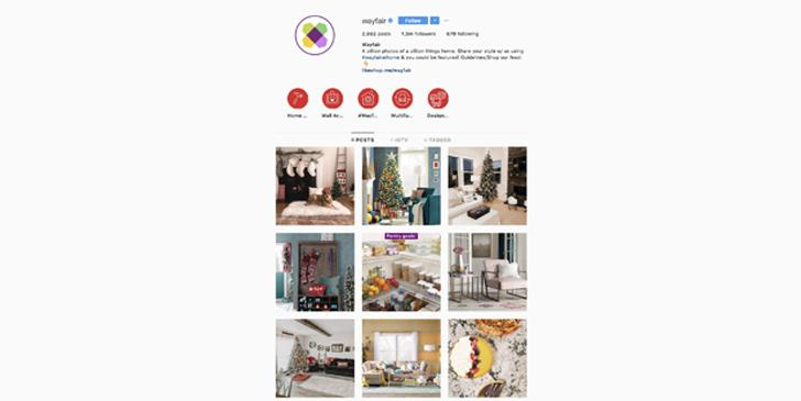 Wayfair Instagram account